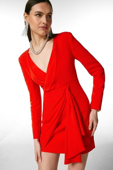 Red Viscose Satin Crepe Sleeved Drape Wrap Dress