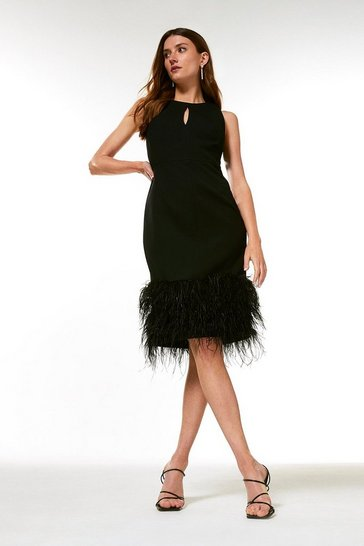Black Structured Crepe Feather Hem Dress
