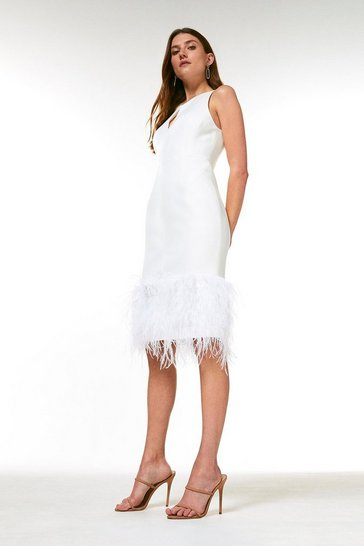 Ivory Structured Crepe Feather Hem Dress