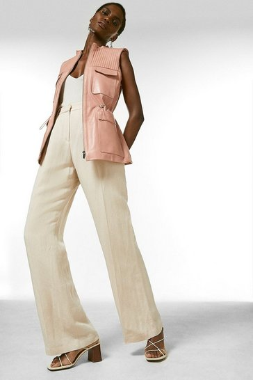 Blush Leather Stitch  Drawstring Sleeveless Jacket