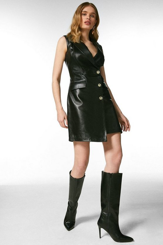 Black Leather Sleeveless Tux Dress