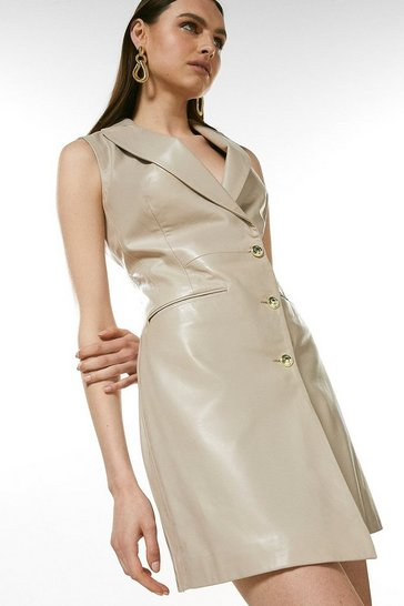 Nude Leather Sleeveless Tux Dress