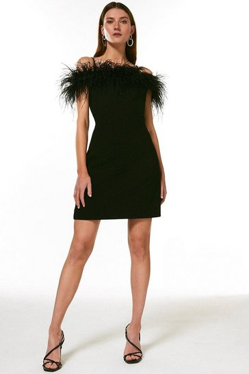 Black Structured Crepe Feather Bardot Mini Dress