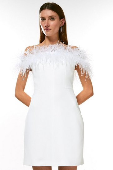 Ivory Structured Crepe Feather Bardot Mini Dress