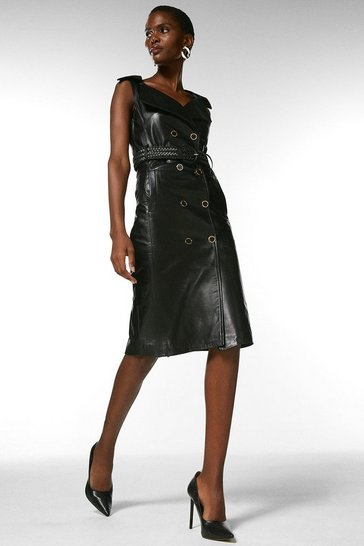 Black Leather Db Belted Pencil Dress