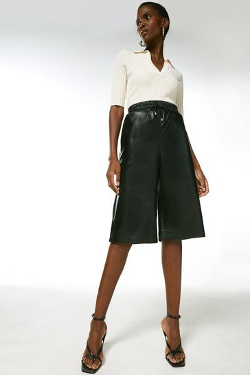 Black Leather Elasticated Waist City Short