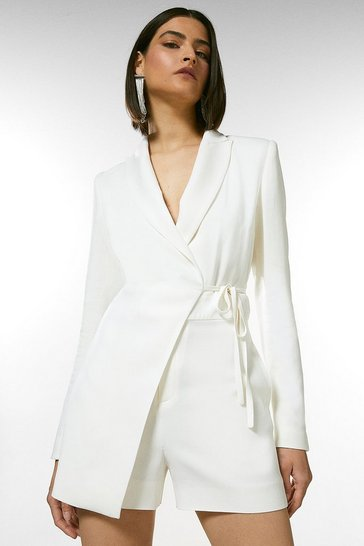 Ivory  Compact Stretch Viscose Tux Wrap Playsuit