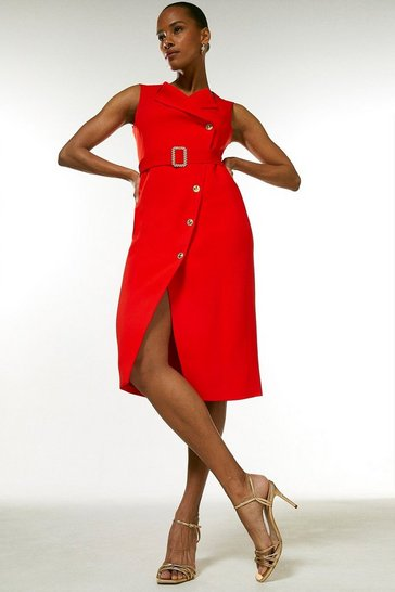 Red Compact Viscose Sleevelss Tux Pencil Dress