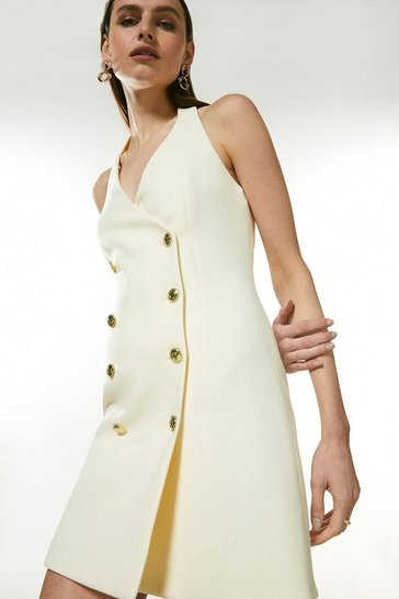 Ivory Military Button Halter Dress
