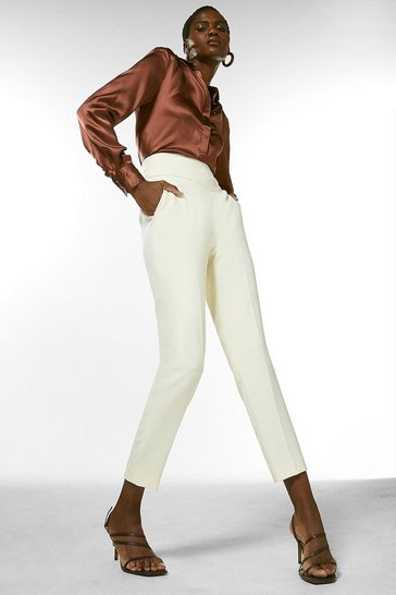 Ivory High Waist Buckle Detail Trousers