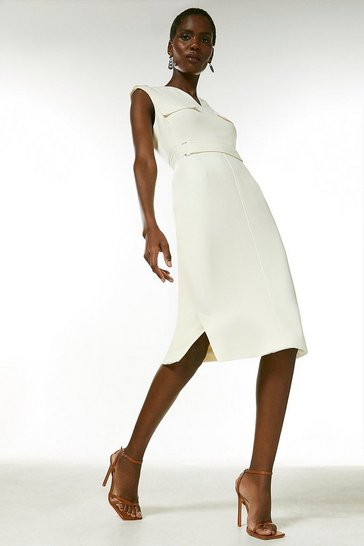 Ivory Square D Ring Pencil Dress