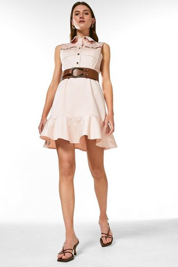 Blush Polished Cotton Sateen Belted Utility Dress
