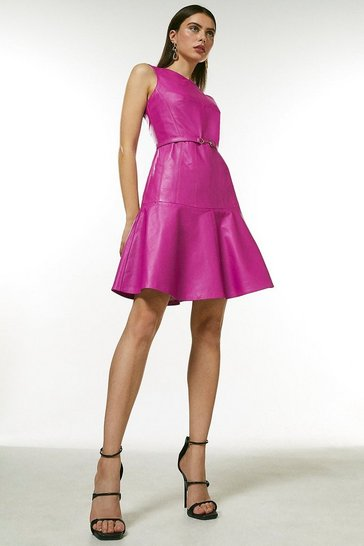 Pink Leather Fit And Flare Midi Dress