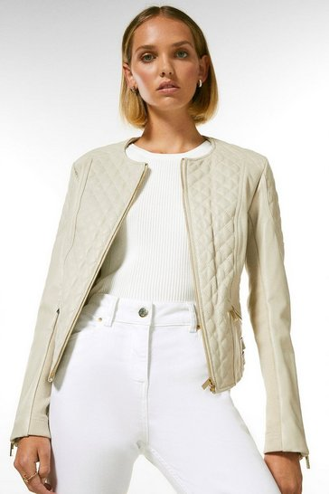 Cream Petite Leather Quilted Biker Jacket