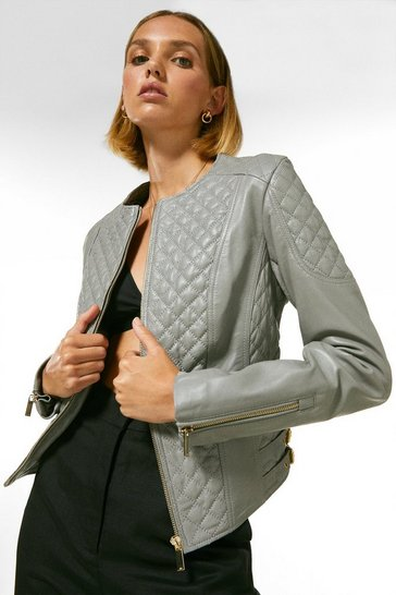Pale grey Petite Leather Quilted Biker Jacket