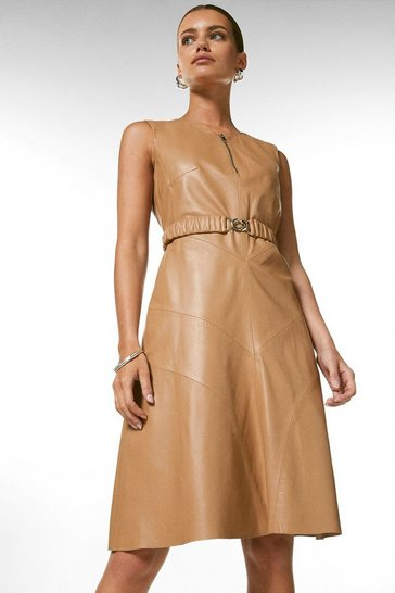 Tan Petite Leather Belted Midi Dress
