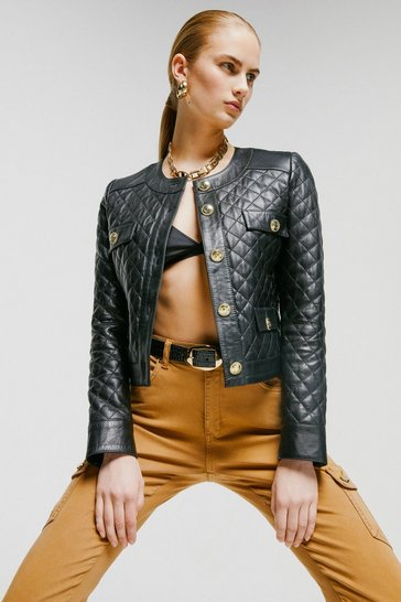 Black Petite Leather Quilted Trophy Jacket