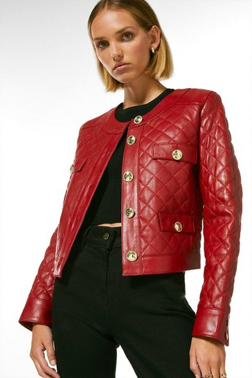 Red Petite Leather Quilted Trophy Jacket