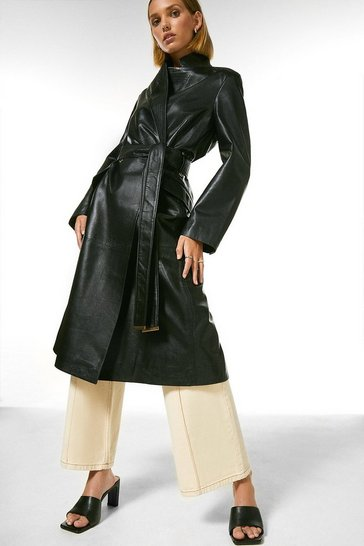 Black Petite Leather Investment Notch Neck Coat