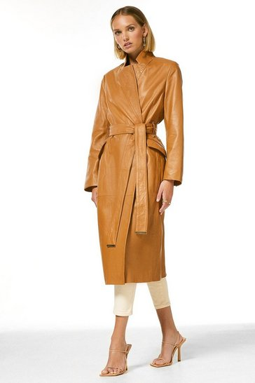 Camel Petite Leather Investment Notch Neck Coat