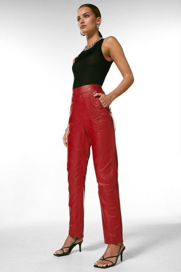 Red Petite Leather Button Detail Trouser