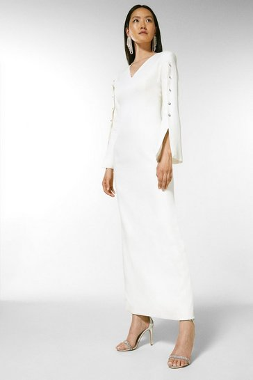 Ivory Button Detail Column Maxi Gown