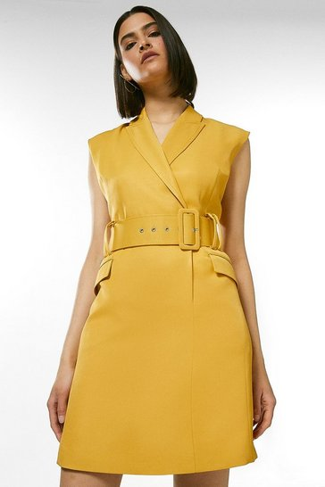 Mustard Belted Sleeveless Tux Mini Dress