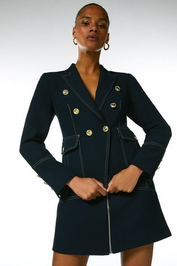 Navy Contrast Stitch Military Blazer