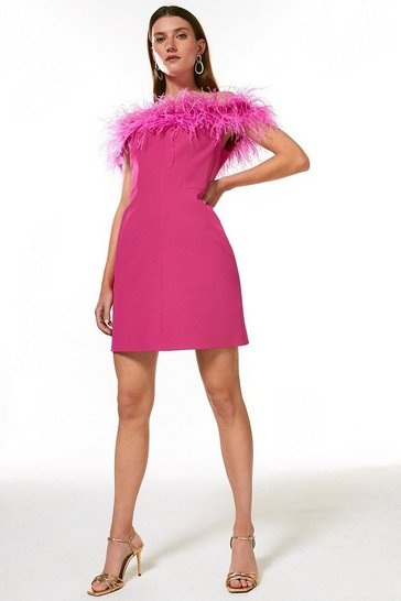 Fushia Feather Bardot Mini Dress