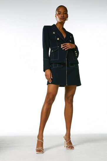 Navy Contrast Stitch Zip Front A Line Skirt