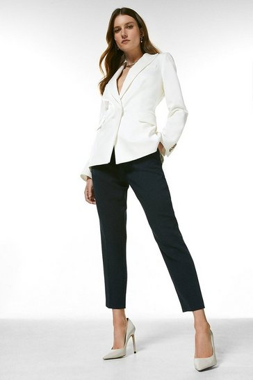 Navy Tailored High Waist Slim Leg Trousers