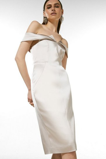 Oyster Italian Structured Satin Bardot Dress