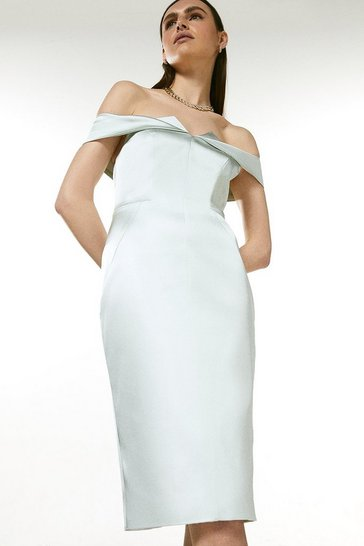 Sage Italian Structured Satin Bardot Dress