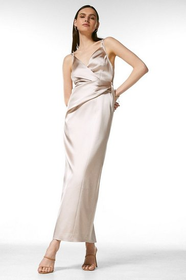 Oyster Italian Structured Satin Strappy Maxi Dress