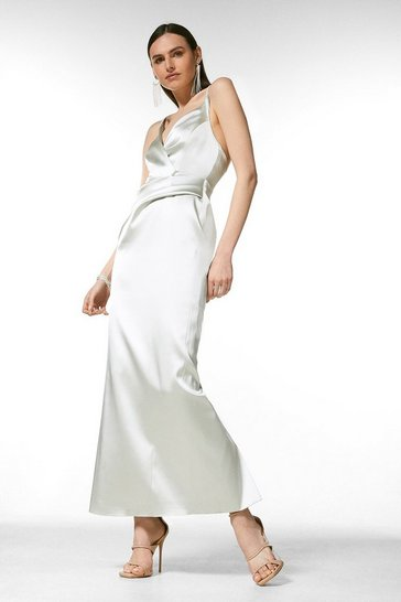 Sage Italian Structured Satin Strappy Maxi Dress