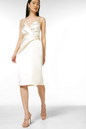 Cream Italian Structured Satin Strappy Pencil Dress