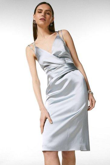 Silver Italian Structured Satin Strappy Pencil Dress