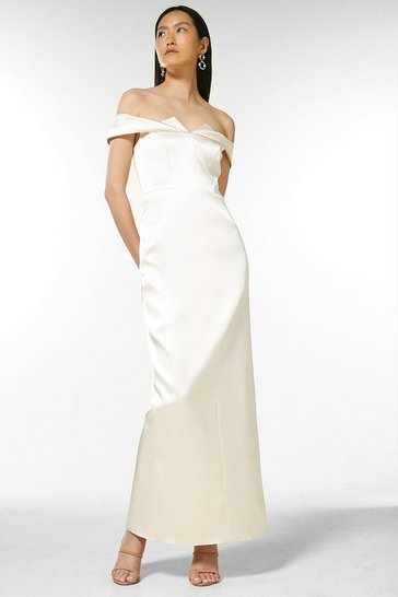 Cream Italian Structured Satin Bardot Maxi Dress