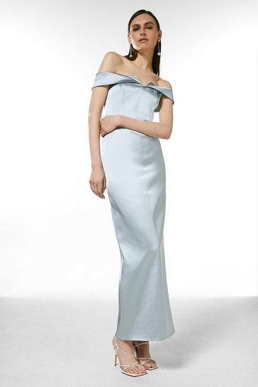 Silver Italian Structured Satin Bardot Maxi Dress