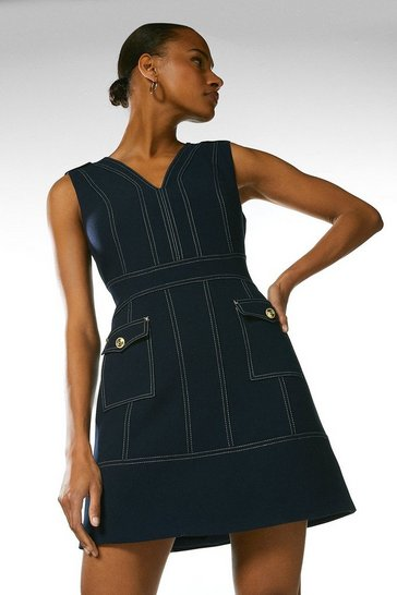 Navy Compact Stretch Contrast Stitch A Line Dress