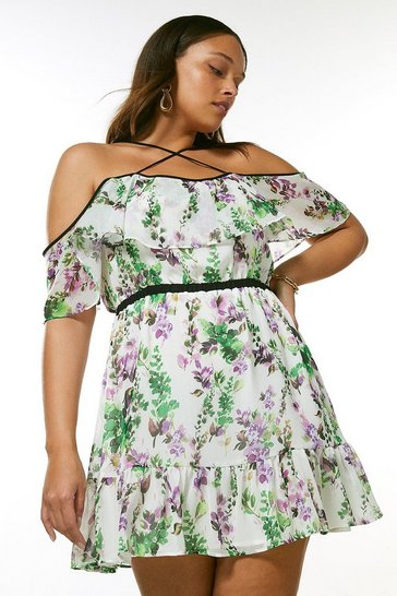 Curve Watercolour Floral Strappy Short Dress