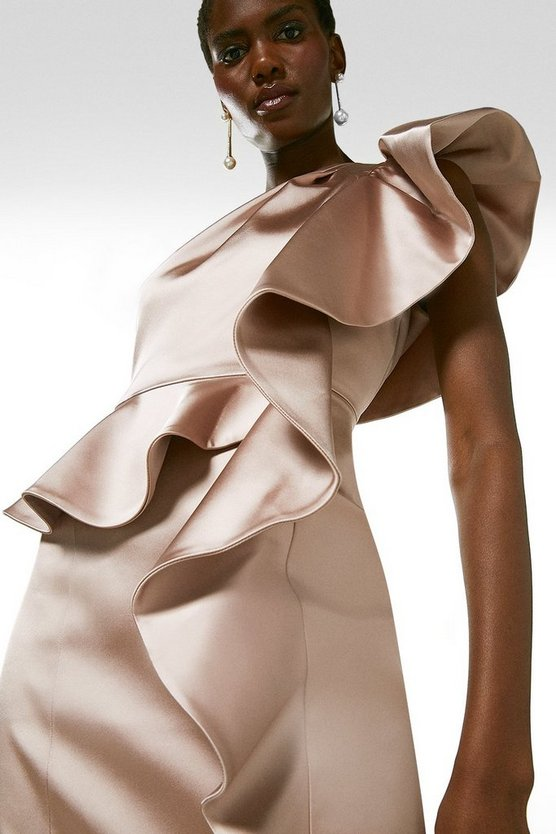 Blush Italian Structured Satin Drama Ruffle Dress
