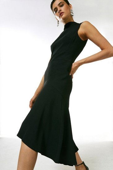 Black Soft Tailored High Low Midi Dress