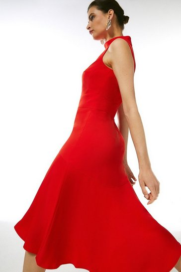 Red Soft Tailored High Low Midi Dress