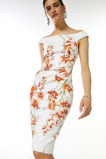 Multi Italian Signature Stretch Floral Bardot Dress