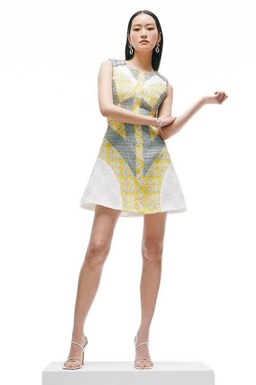 Yellow Linton Tweed Patchwork A Line Dress
