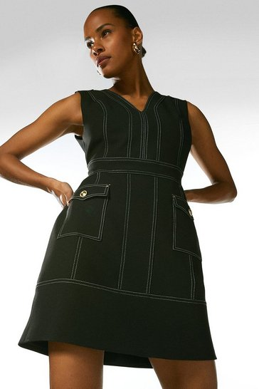 Black Contrast Stitch Pocket A Line Dress