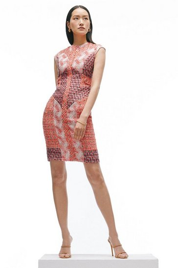 Red Linton Tweed Patchwork Pencil Dress