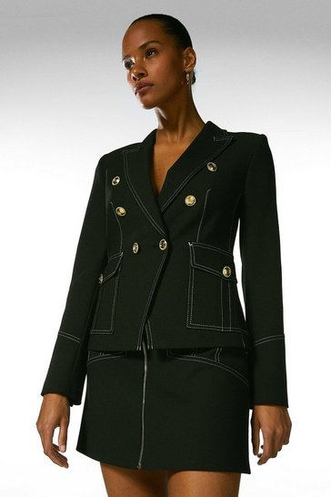 Black Contrast Stitch Military Blazer