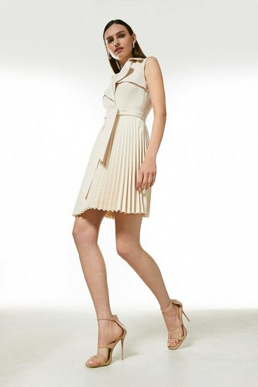 Cream Sleeveless Pleated Skirt Trench Dress